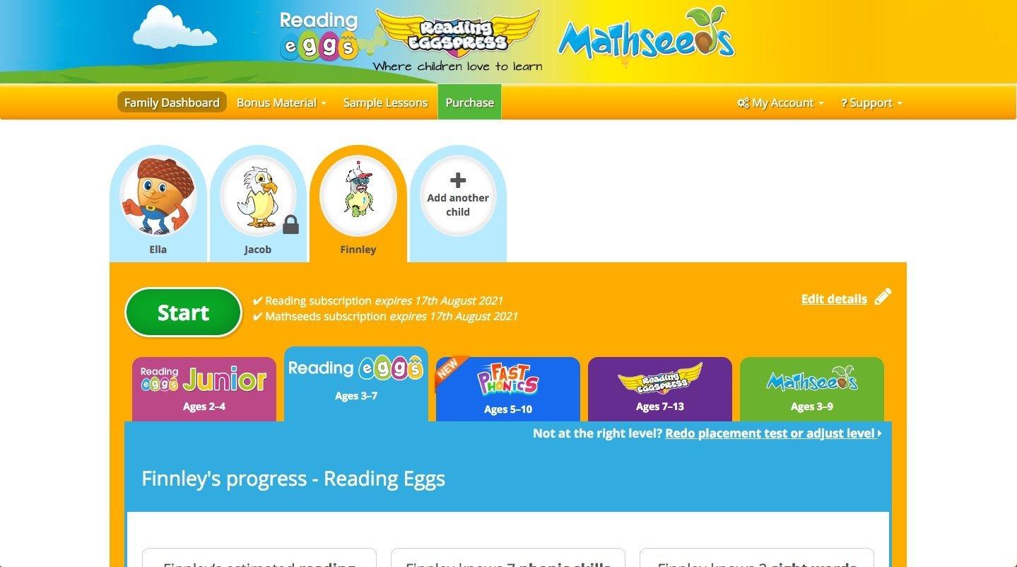 Reading Eggs Dashboard