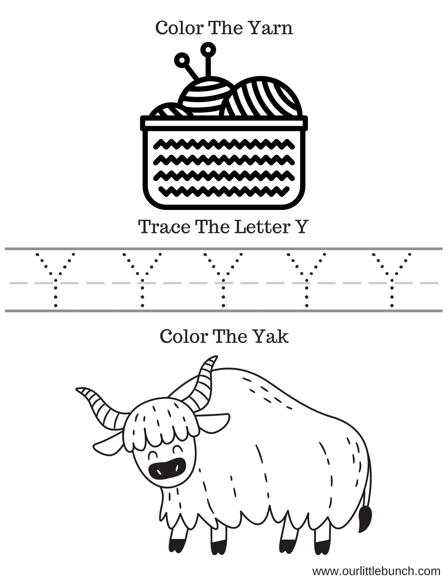 Letter Y Printable 1